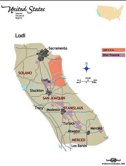Lodi Wine Map Lodi Wine Maps   California Winery Advisor Lodi Wine Map