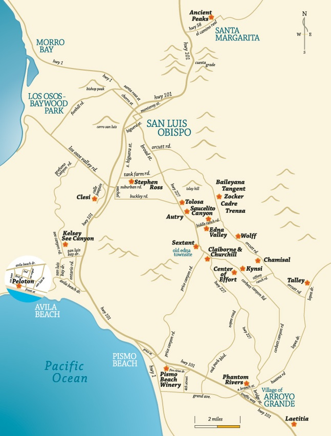 San Luis Obispo Winery Map California Winery Advisor