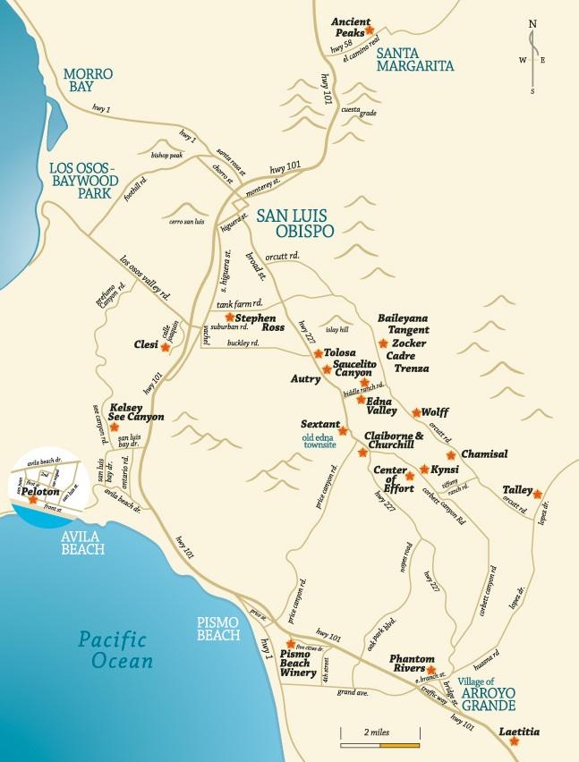 San Luis Obispo Winery Map California Winery Advisor
