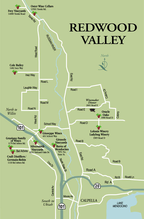 Redwood Valley Winery Map California Winery Advisor