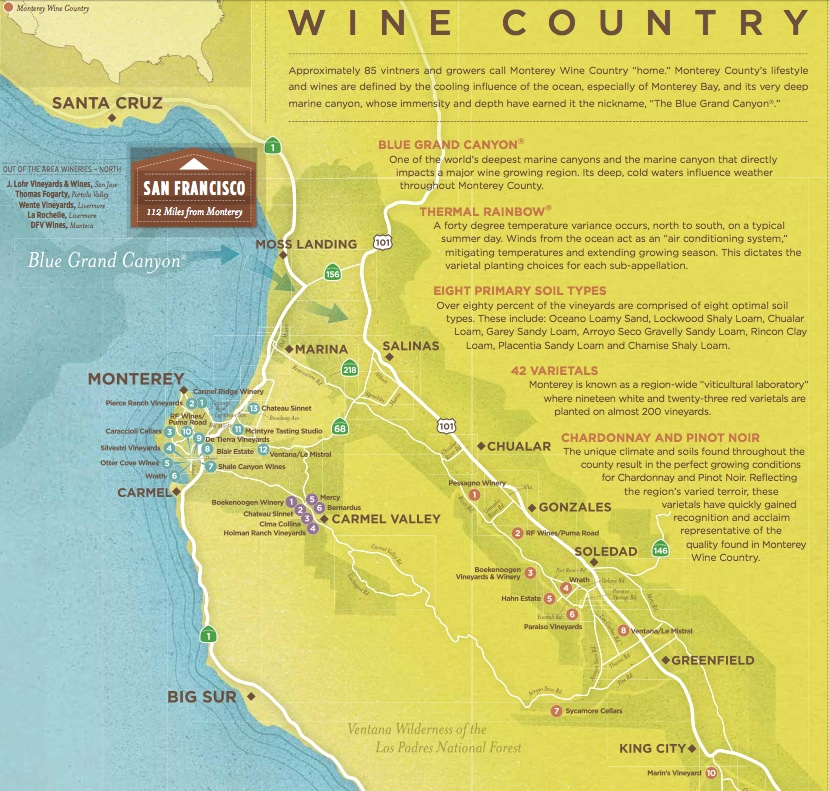 Monterey County Wine Maps California Winery Advisor - Monterey on us map