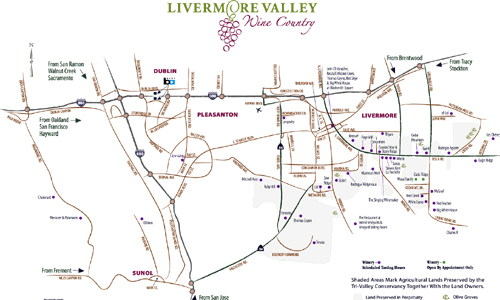 Livermore Wineries Map Livermore Valley Wine Maps   California Winery Advisor Livermore Wineries Map