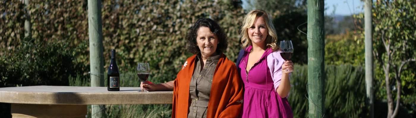 Amelia and Dalia Ceja Wine Tasting Room Patio Panamora